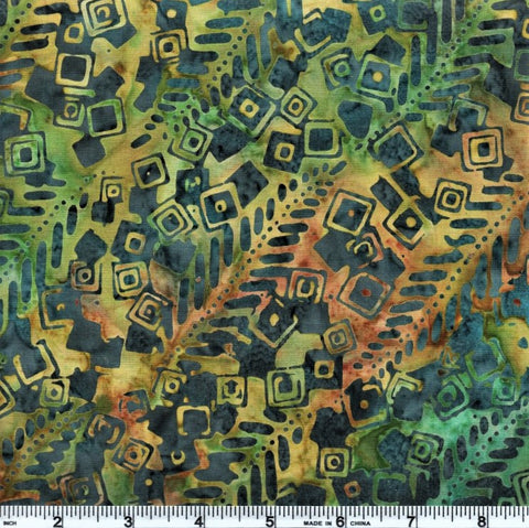 Anthology Batik 10225 Green Abstract Squares By The Yard