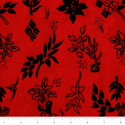 Anthology Batik 10318 Black Floral On Red By The Yard