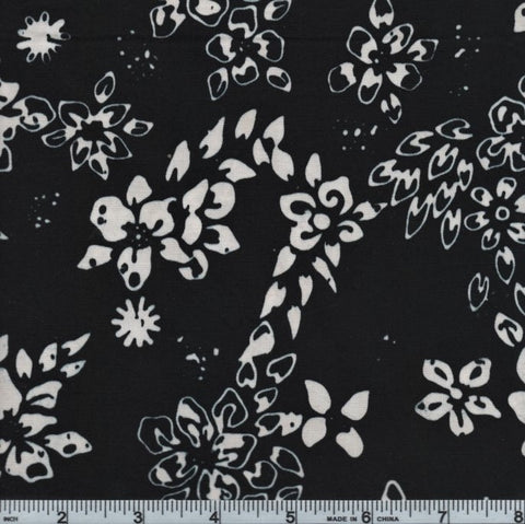 Anthology Batik 10381 Black And White Flowers By The Yard