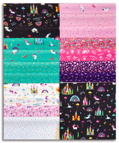 "Riley Blake Pre-Cut 42 Piece 10"" Layer Cake Squares - Unicorn Kingdom"