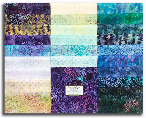 "Kaufman Artisan Batiks Pre-Cut 42 Piece 10"" Squares Layer Cake 731 42 - Fancy Feathers"