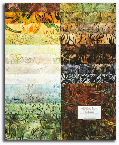 "Kaufman Artisan Batiks Pre-Cut 42 Piece 10"" Squares Layer Cake 753 42 - Wildlife Sanctuary"