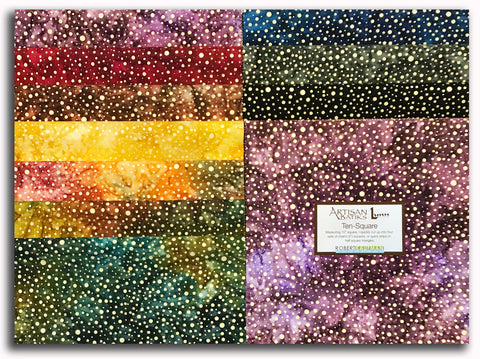 "Kaufman Metallic Artisan Batik Pre-Cut 42 Piece 10"" Squares Layer Cake 795 42 - Sparkle Gold"