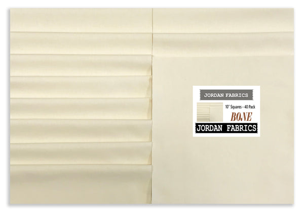 "Jordan Fabrics Solid Pre-Cuts 40 Piece 10"" Layer Cake Squares - Bone"
