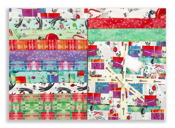 "Clothworks Pre-Cut 42 Piece 10"" Layer Cake Squares TSQ0233 - Purrfect Christmas"
