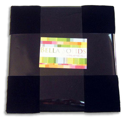 "Moda Bella Solids Pre-cut 42 Piece 10"" Layer Cake Squares 9900LC 99 - Black"