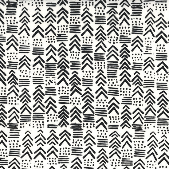 Hoffman Batiks Black & White 123 655 Indah Chalk By The Yard