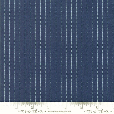 Moda Indigo Gatherings 1292 20 Admiral Dot Dash Stripe By The Yard