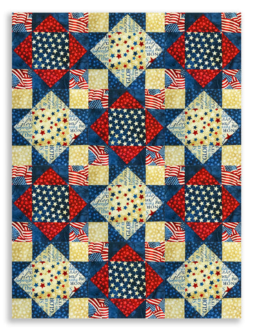 Northcott Pre-Cut 12 Block King's Crown Quilt Kit - Land of the Free
