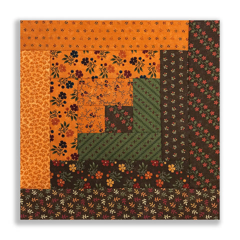 Moda PRE-CUT 12 Block Log Cabin Quilt Kit - Autumn Jubilee