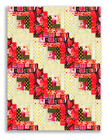 Kanvas Pre-Cut 12 Block Log Cabin Quilt Kit - Cherish