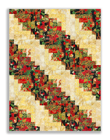Jordan Fabrics Pre-Cut 12 Block Log Cabin Quilt Kit - Christmas Blossom