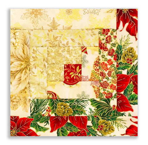 Jordan Fabrics Pre-Cut 12 Block Log Cabin Quilt Kit - Christmas Blossom Light