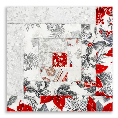 Jordan Fabrics Pre-Cut 12 Block Log Cabin Quilt Kit - Christmas Blossom Silver Light