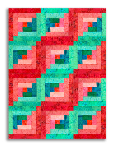 Anthology Batiks Pre-Cut 12 Block Log Cabin Quilt Kit - Cortez