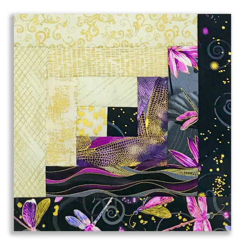 Kanvas Pre-Cut 12 Block Log Cabin Quilt Kit - Dancing Dragonflies Black