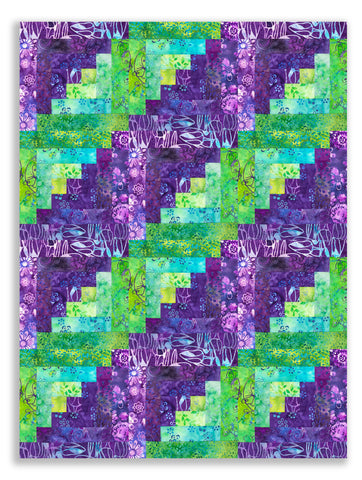 Anthology Batiks Pre-Cut 12 Block Log Cabin Quilt Kit - Donna's Delight
