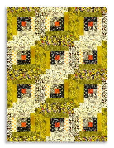 Moda Fabrics Pre-Cut 12 Block Log Cabin Quilt Kit - Hallo Harvest