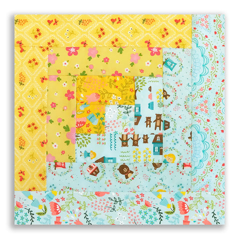 Moda Fabrics PRE-CUT 12 Block Log Cabin Quilt Kit - Home Sweet Home Blue & Yellow