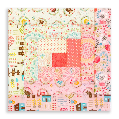 Moda Fabrics PRE-CUT 12 Block Log Cabin Quilt Kit - Home Sweet Home Pink - SAMPLE