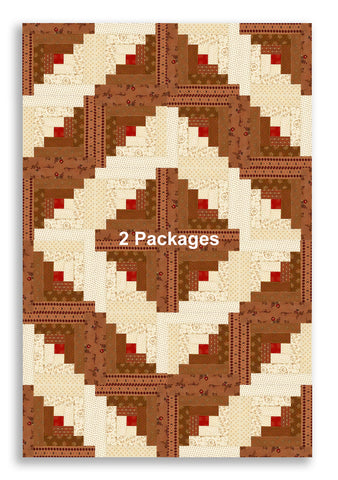 Moda Pre-cut 12 Block Log Cabin Quilt Kit - Jo Morton MOCHA