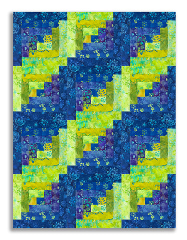 Anthology Batiks Pre-Cut 12 Block Log Cabin Quilt Kit - Lapis