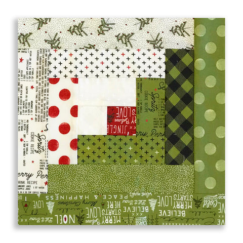 Moda Fabrics PRE-CUT 12 Block Log Cabin Quilt Kit - Merry Starts Here Green