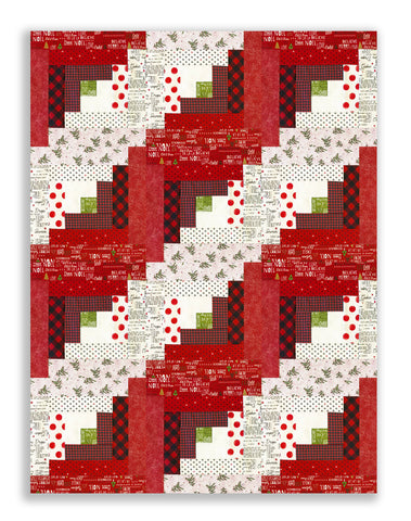Moda Fabrics PRE-CUT 12 Block Log Cabin Quilt Kit - Merry Starts Here Red