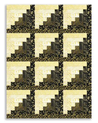 Kanvas Pre-Cut 12 Block Log Cabin Quilt Kit - Metallic Mixers Gold