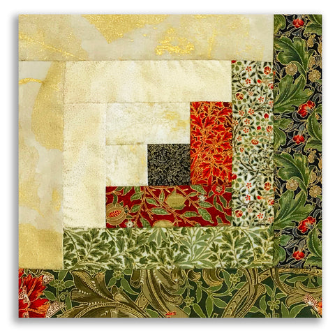 Moda Pre-cut 12 Block Log Cabin Quilt Kit - Morris Garden