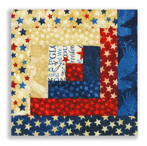 Northcott Stonehenge Americana PRE-CUT 12 Block Log Cabin Quilt Kit - Stars & Stripes Forever