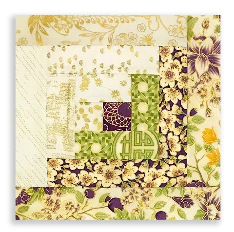 The Textile Pantry PRE-CUT 12 Block Log Cabin Quilt Kit - Summer Palace Purple