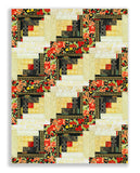 The Textile Pantry PRE-CUT 12 Block Log Cabin Quilt Kit - Summer Palace Red