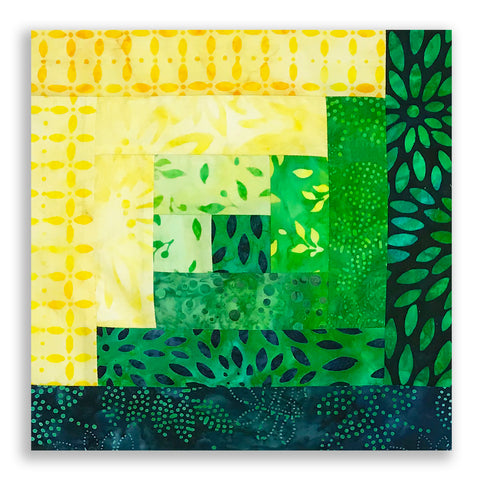 Kaufman Batiks Pre-Cut 12 Block Log Cabin Quilt Kit - Sunny Day