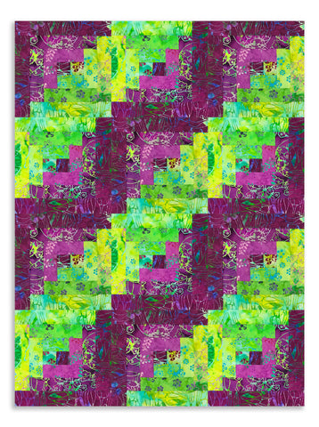 Anthology Batiks Pre-Cut 12 Block Log Cabin Quilt Kit - Verbena