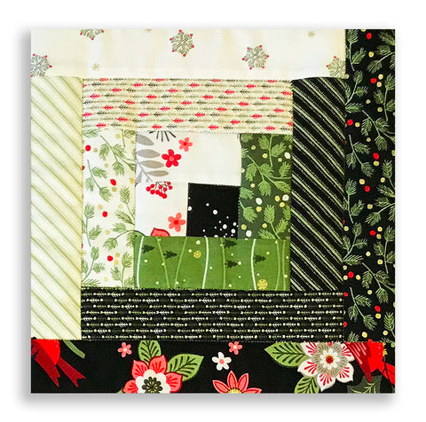 Andover Pre-cut 12 Block Log Cabin Quilt Kit - Mistletoe