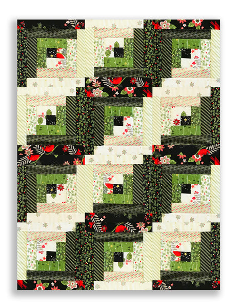 Andover Pre Cut 12 Block Log Cabin Quilt Kit Mistletoe