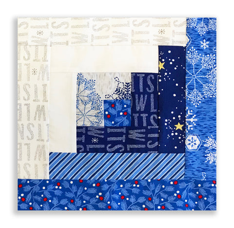 Andover Pre-cut 12 Block Log Cabin Quilt Kit - Northern Lights Blue