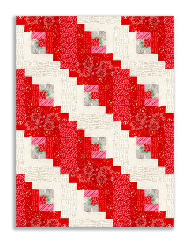 Andover Pre-cut 12 Block Log Cabin Quilt Kit - Northern Lights Red
