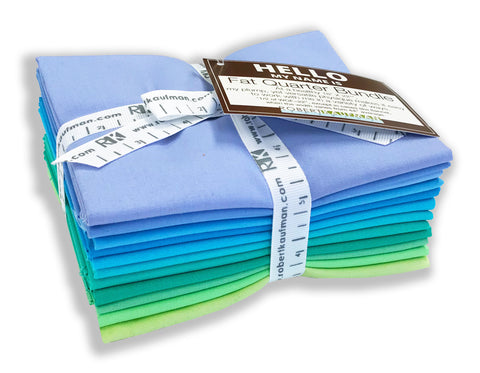Kaufman Kona Pre-Cuts 12 Fat Quarters 1375 12 - Mermaid Shores
