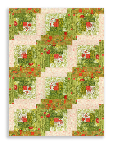 Moda Fabrics Pre-Cut 12 Block Log Cabin Quilt Kit - Blushing Peonies Green