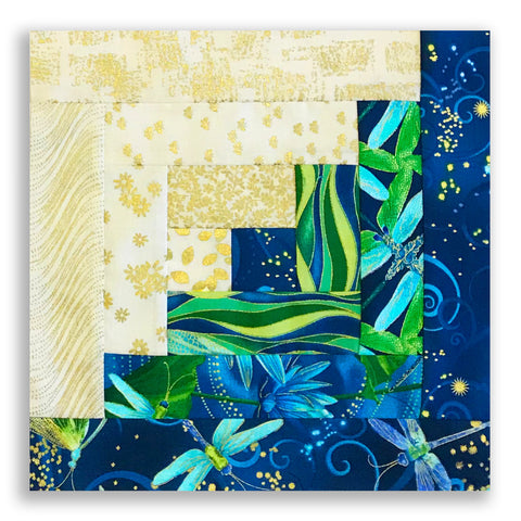 Kanvas Pre-Cut 12 Block Log Cabin Quilt Kit - Dancing Dragonflies Lagoon
