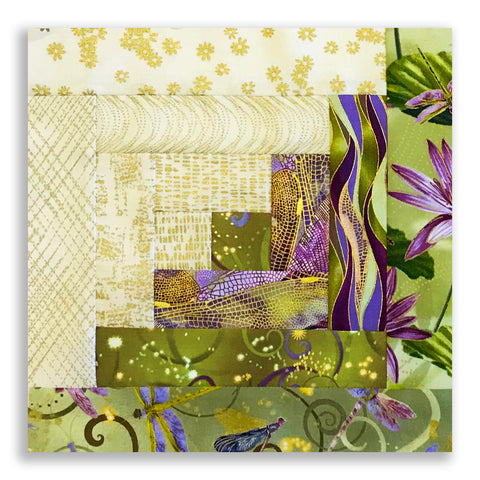 Kanvas Pre-Cut 12 Block Log Cabin Quilt Kit - Dancing Dragonflies Meadow