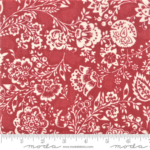 Moda French General Chafarcani 13850 11 Rouge Fleurs Et Feuilles By The Yard