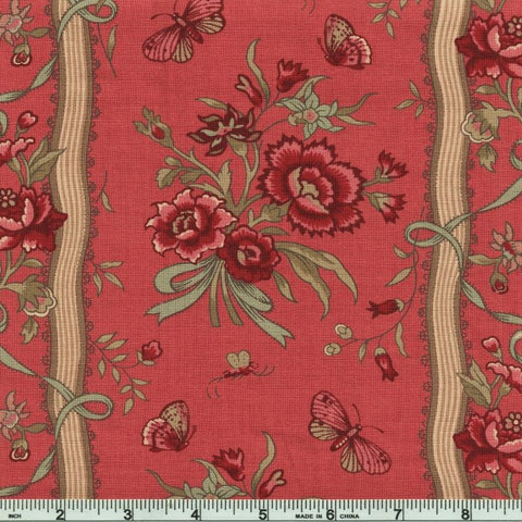 Moda French General Le Beau Papillon 13869 16 Faded Red Bande Papillon By The Yard