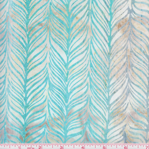 Kaufman Bali Batik Elementals 13886 254 Frost Leaves Gray Fades To Teal by the yard