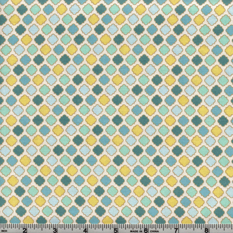 RJR Fabrics Cold Spring Dreams 1414 11 Teal Yellow Tile Foulard By The Yard
