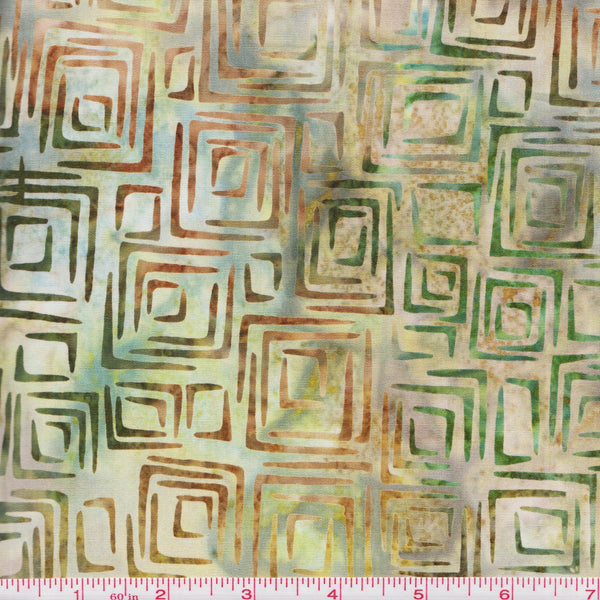 Kaufman Bali Batik Nature's Textures 14377 309 Bamboo Green Squares by the yard