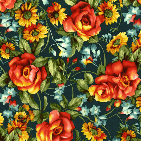 RJR Fabrics Bordeaux Rose 3079 1 Jardin Du Soir Dark Teal By The Yard