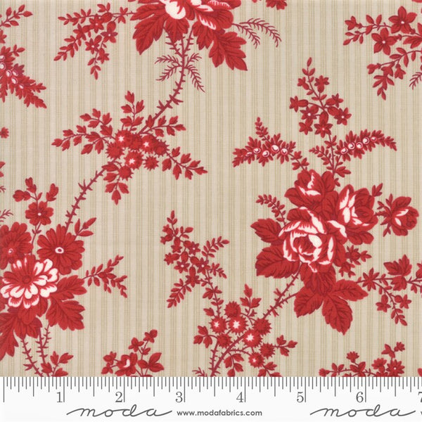Moda Minick & Simpson Northport Prints 14880 13 Beige Red Cottage Curtains By The Yard